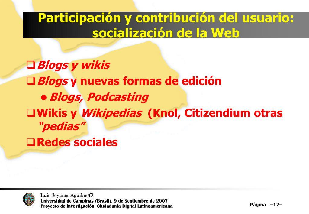 Participación y contribución del usuario: socialización de la Web