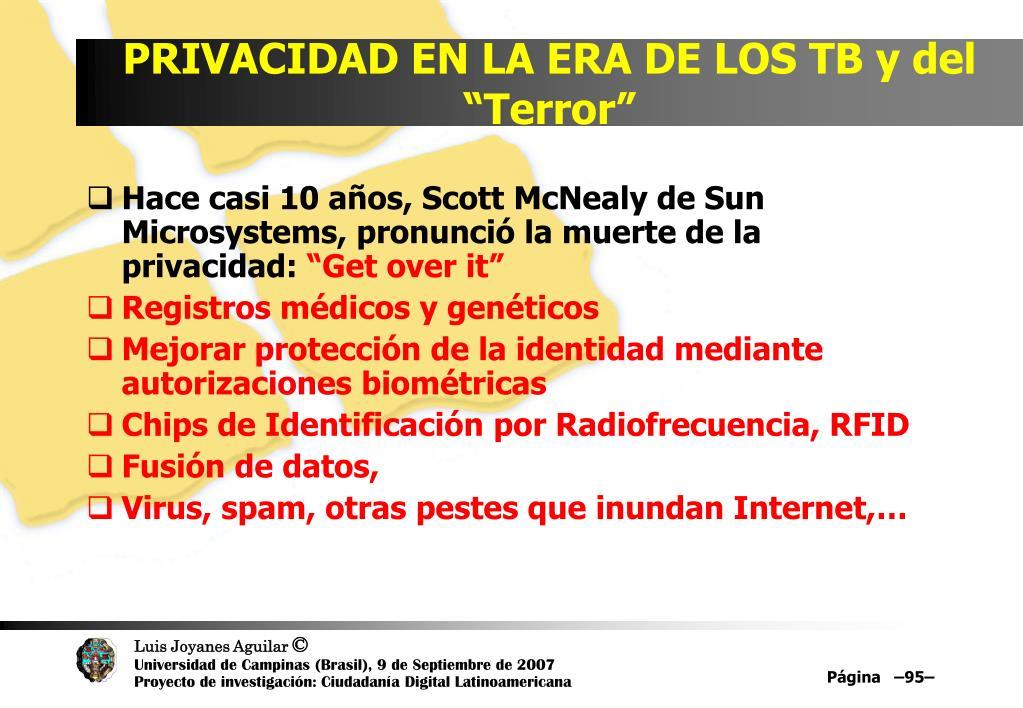 """PRIVACIDAD EN LA ERA DE LOS TB y del """"Terror"""""""