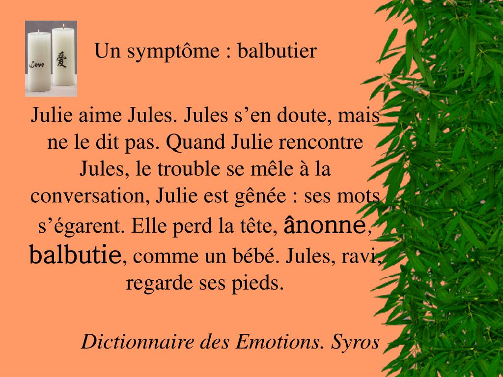 Un symptôme: balbutier