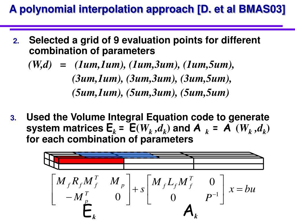A polynomial interpolation approach [D. et al BMAS03]