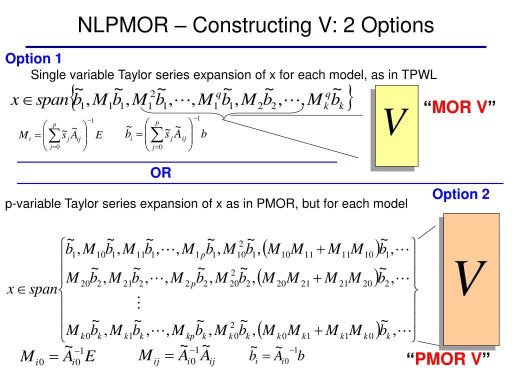 NLPMOR – Constructing V: 2 Options
