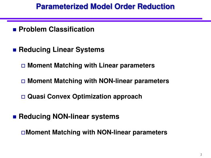 Parameterized model order reduction