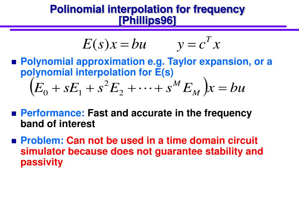 Polinomial interpolation for frequency [Phillips96]