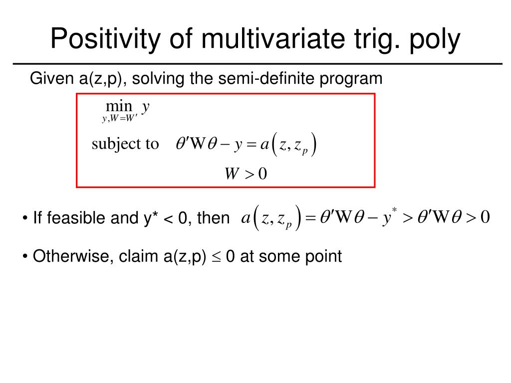 Positivity of multivariate trig. poly