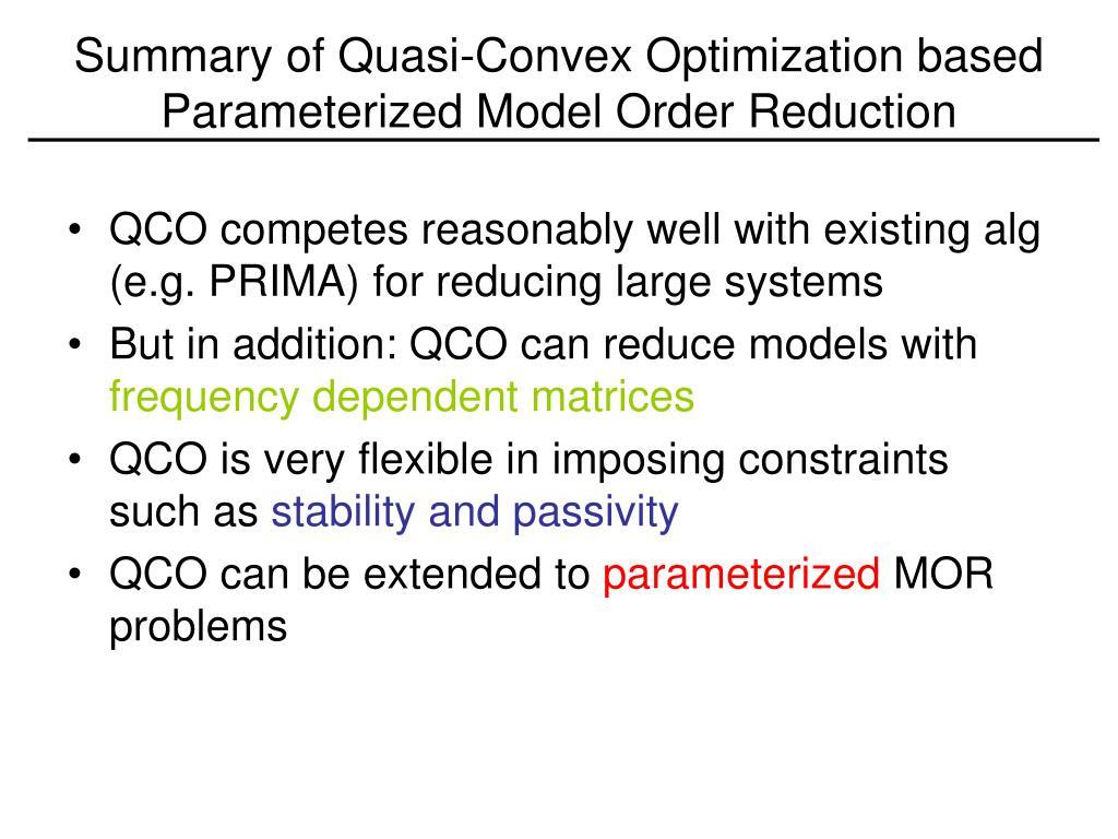 Summary of Quasi-Convex Optimization based