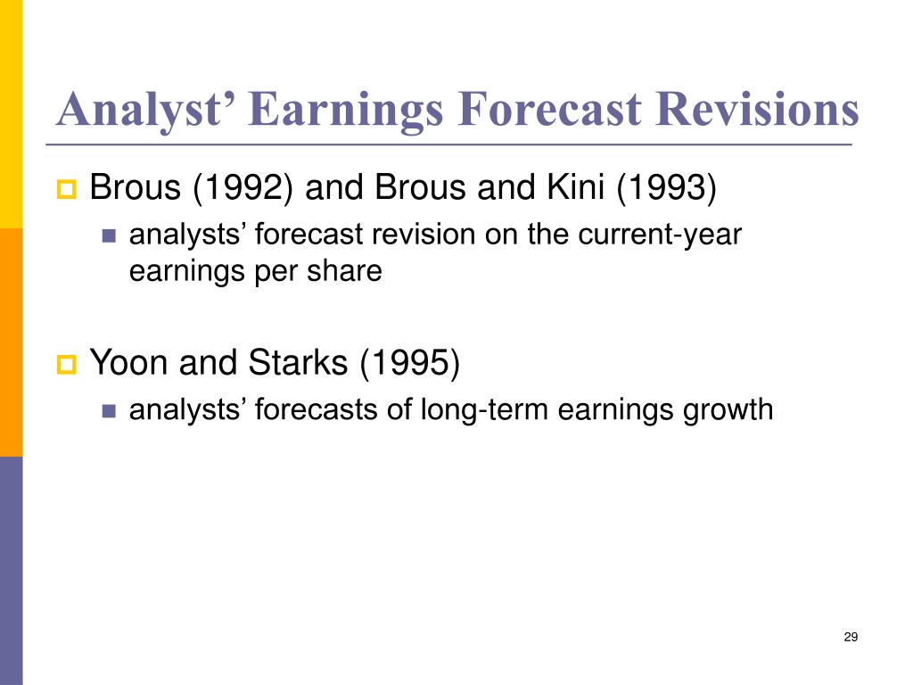 Analyst' Earnings Forecast Revisions