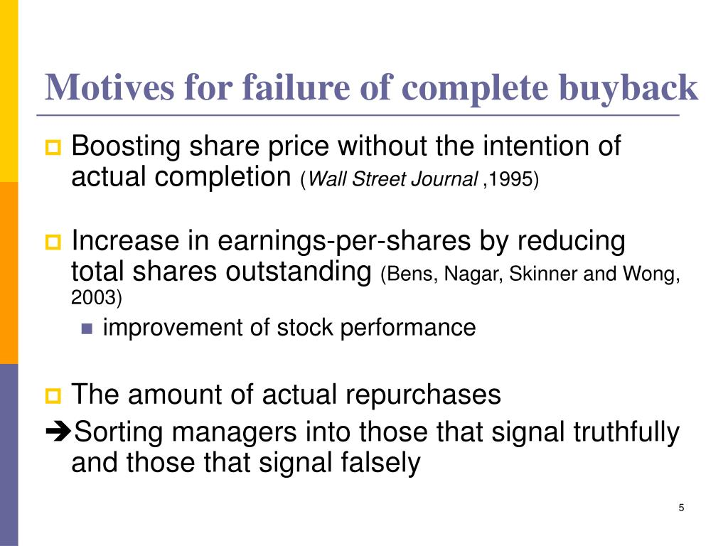 Motives for failure of complete buyback