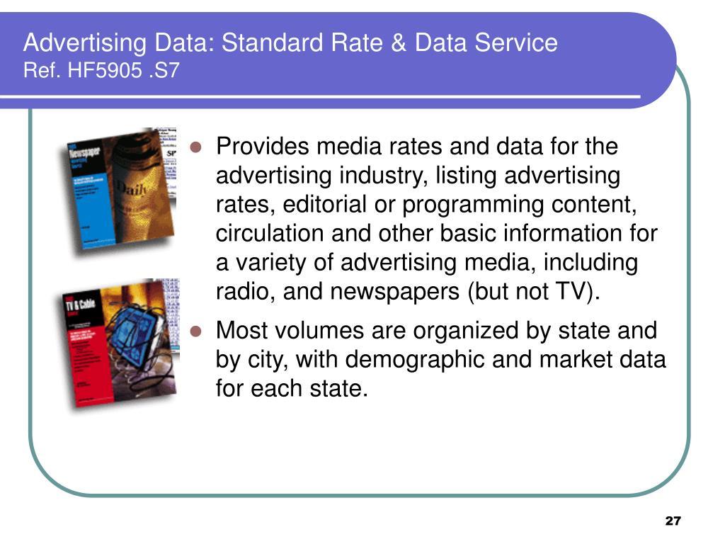 Advertising Data: Standard Rate & Data Service