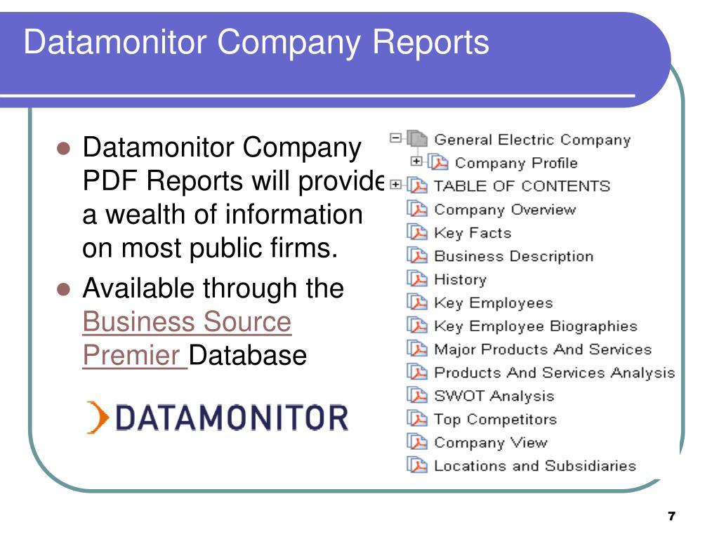 Datamonitor Company Reports