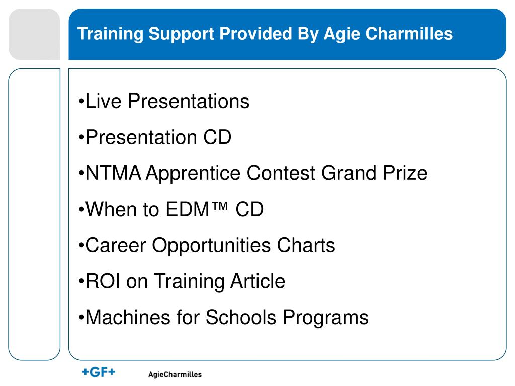 Training Support Provided By Agie Charmilles