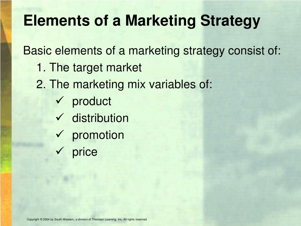 Elements of a Marketing Strategy