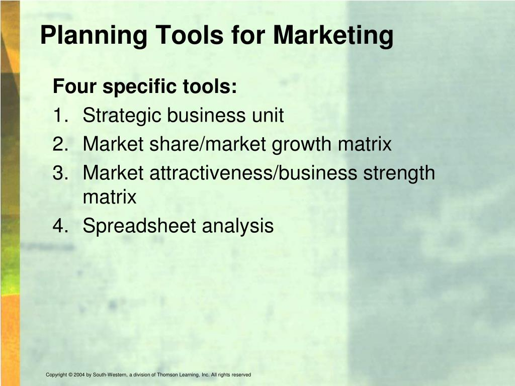 Planning Tools for Marketing