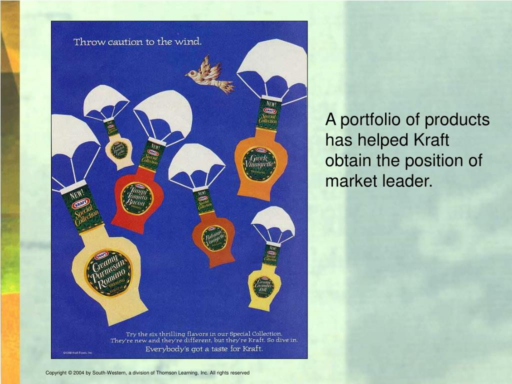 A portfolio of products has helped Kraft obtain the position of market leader.