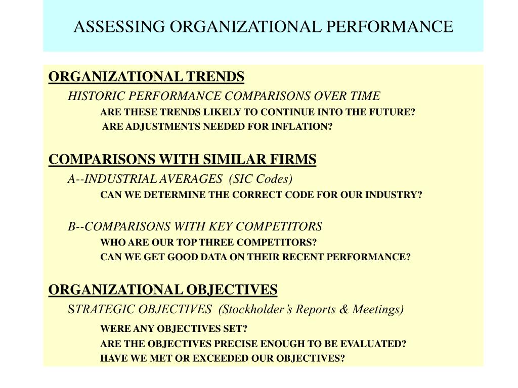 ASSESSING ORGANIZATIONAL PERFORMANCE