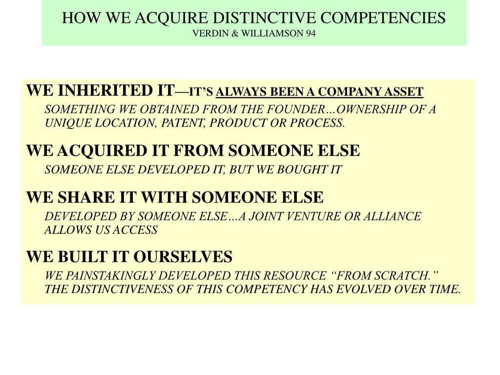 HOW WE ACQUIRE DISTINCTIVE COMPETENCIES