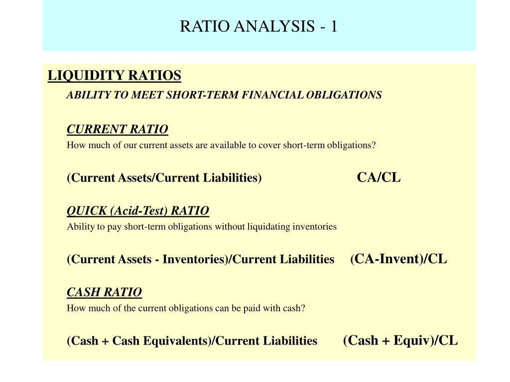 RATIO ANALYSIS - 1