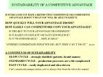 sustainability of a competitive advantage