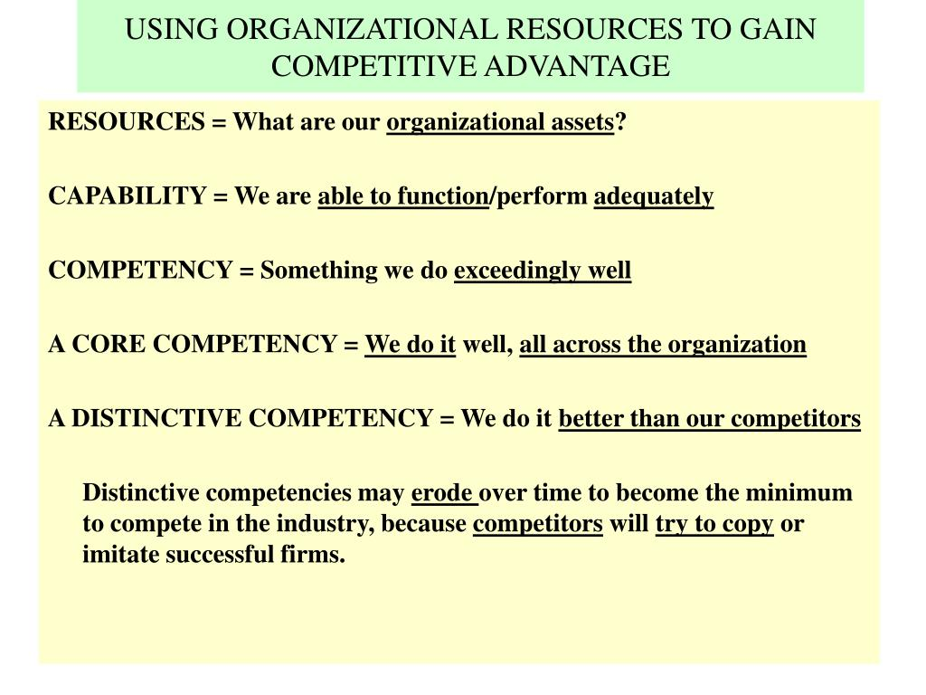 USING ORGANIZATIONAL RESOURCES TO GAIN COMPETITIVE ADVANTAGE