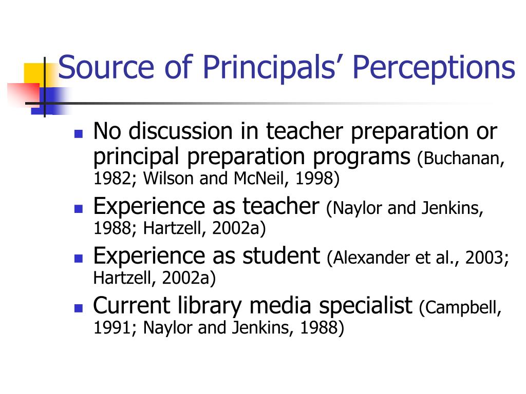 Source of Principals' Perceptions