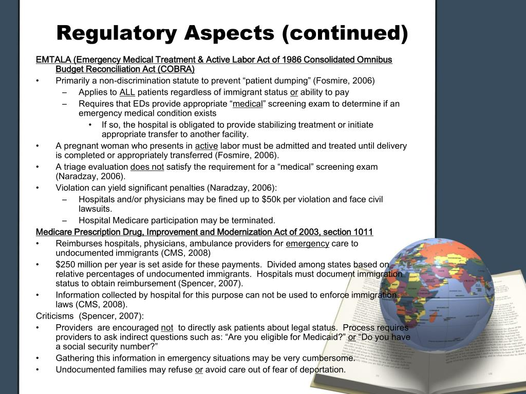 Regulatory Aspects (continued)