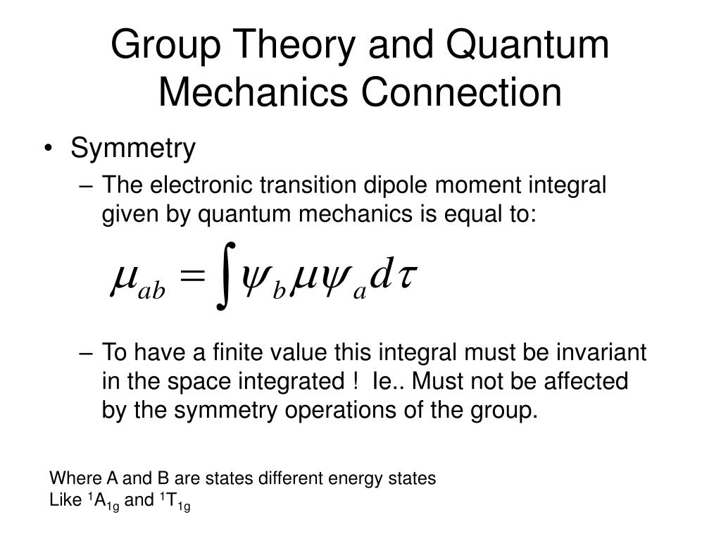 Group Theory and Quantum Mechanics Connection