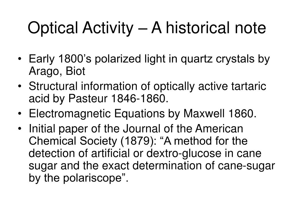 Optical Activity – A historical note