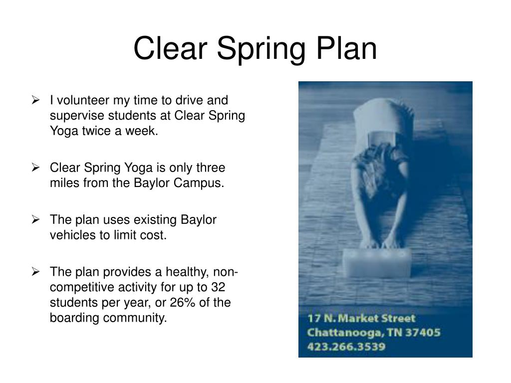 Clear Spring Plan