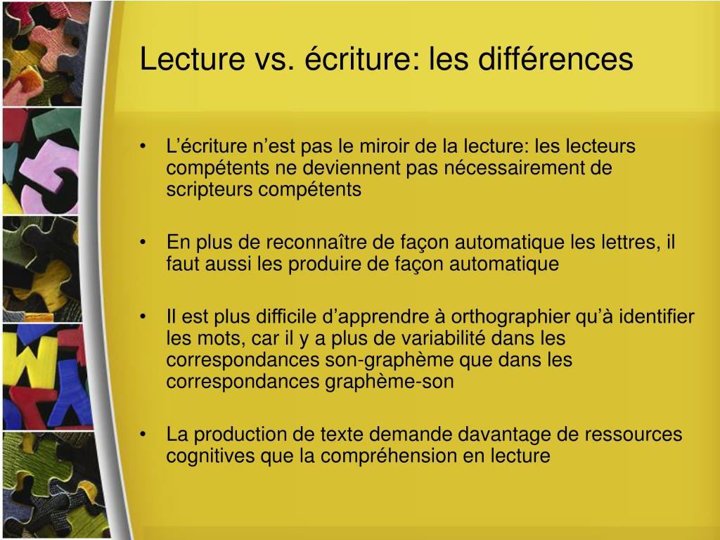 Lecture vs. écriture: les différences