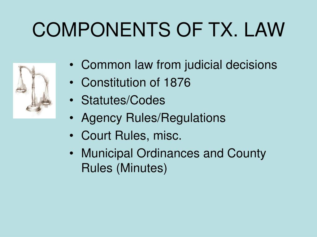 COMPONENTS OF TX. LAW