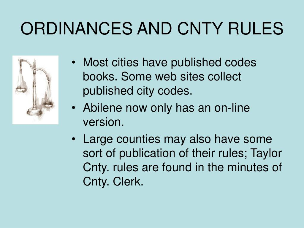 ORDINANCES AND CNTY RULES