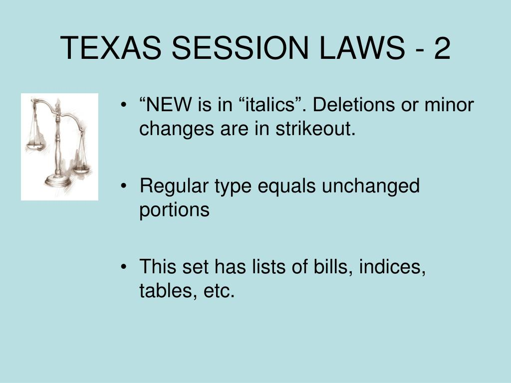 TEXAS SESSION LAWS - 2