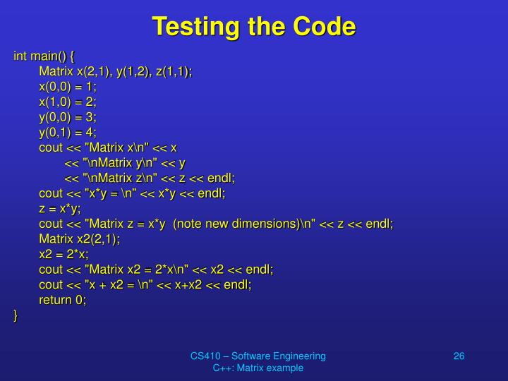 Testing the Code