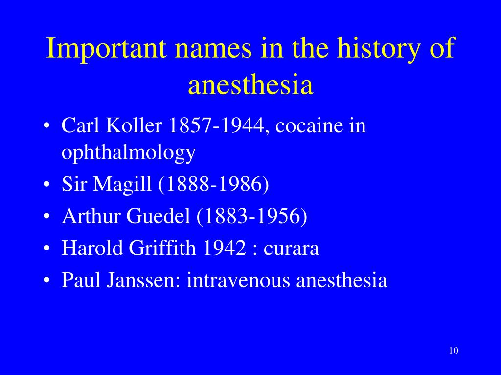 Important names in the history of anesthesia