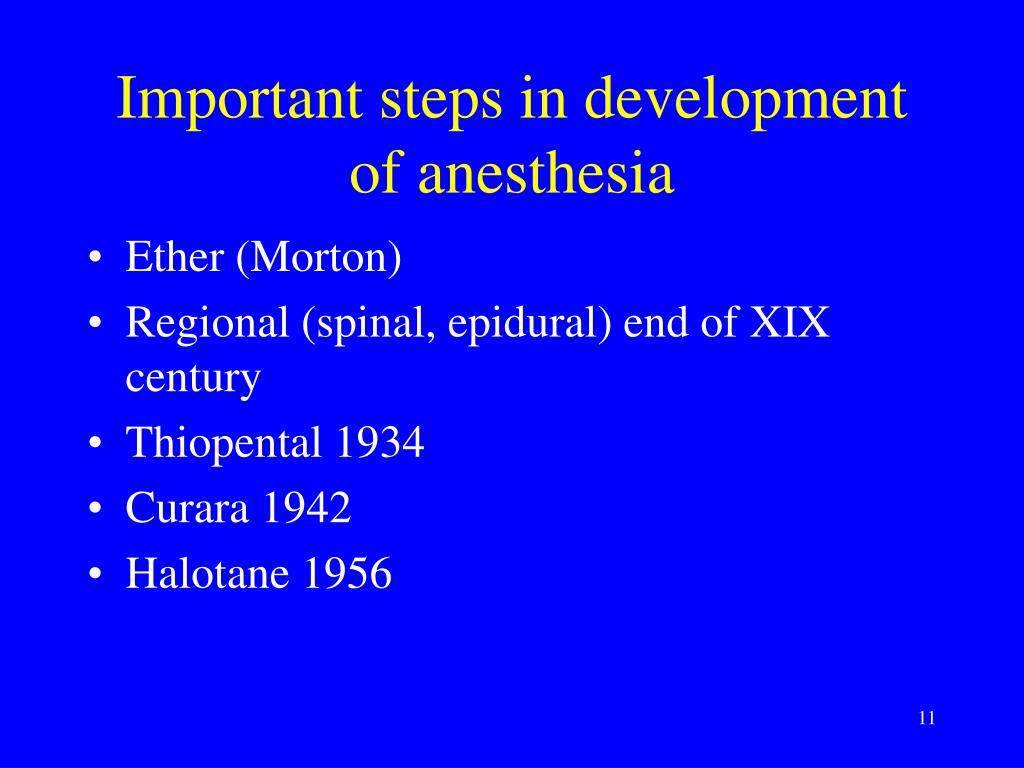 Important steps in development of anesthesia