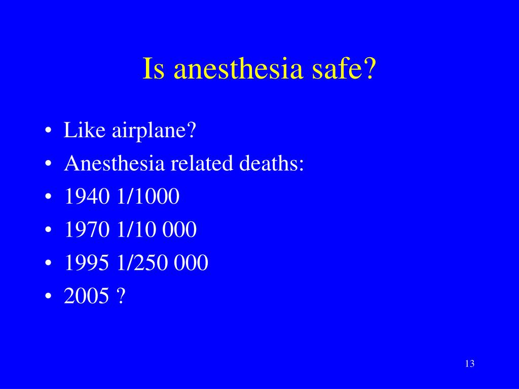Is anesthesia safe?