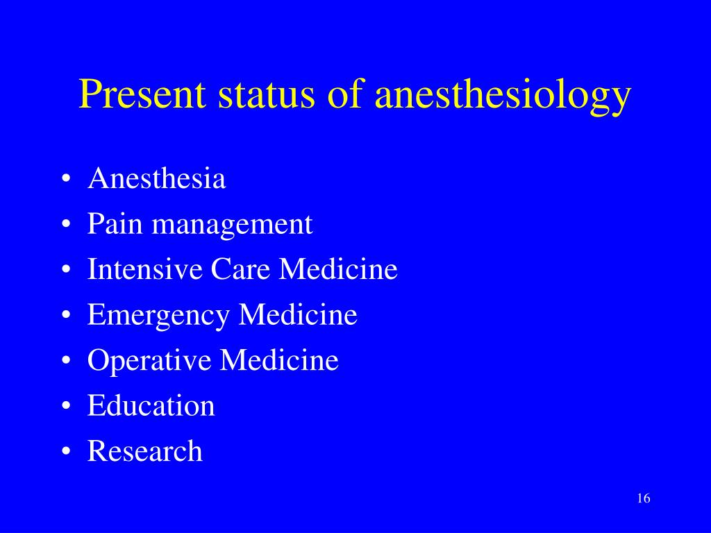 Present status of anesthesiology