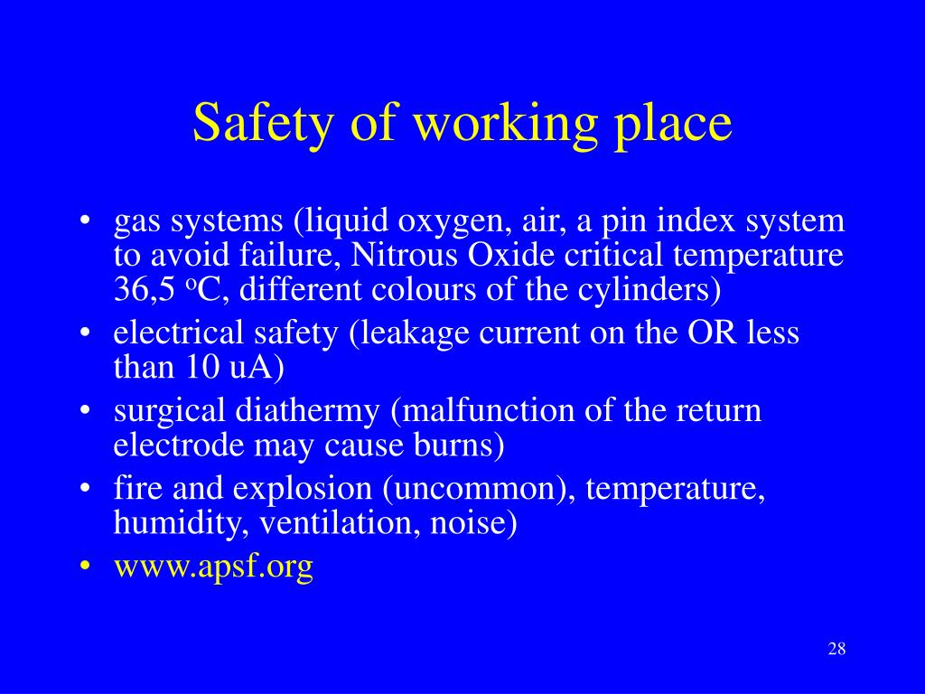 Safety of working place