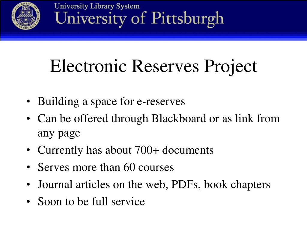Electronic Reserves Project