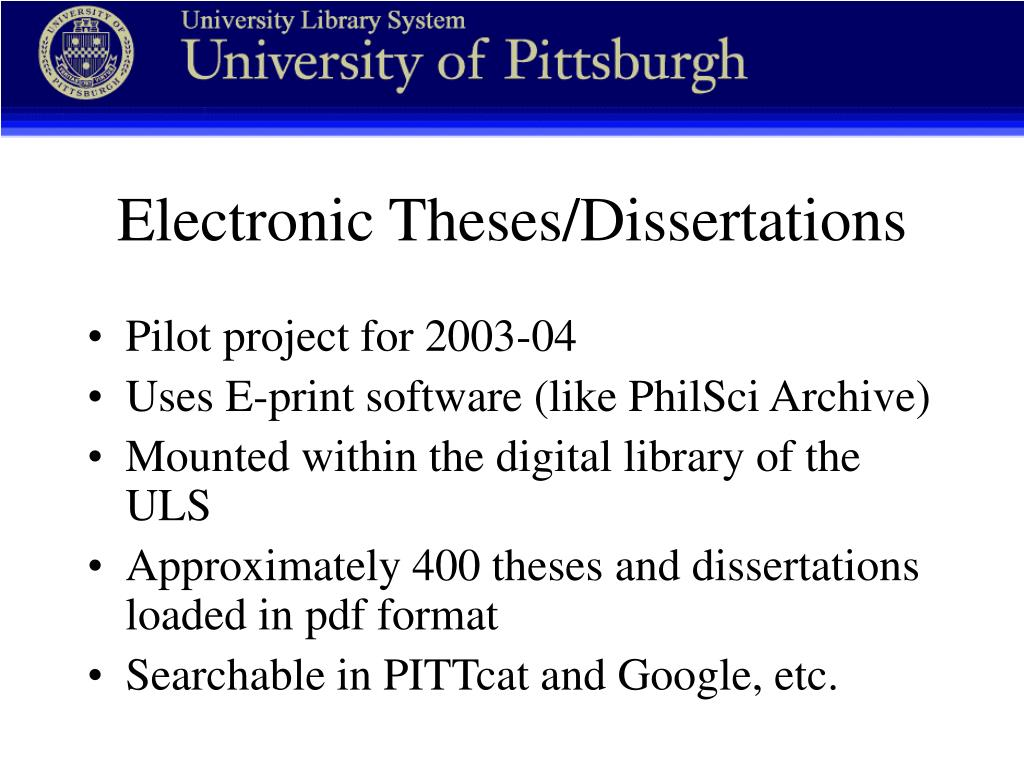 Electronic Theses/Dissertations