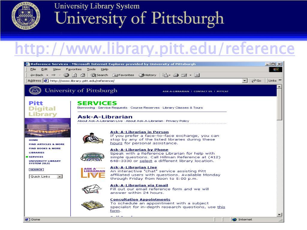 http://www.library.pitt.edu/reference