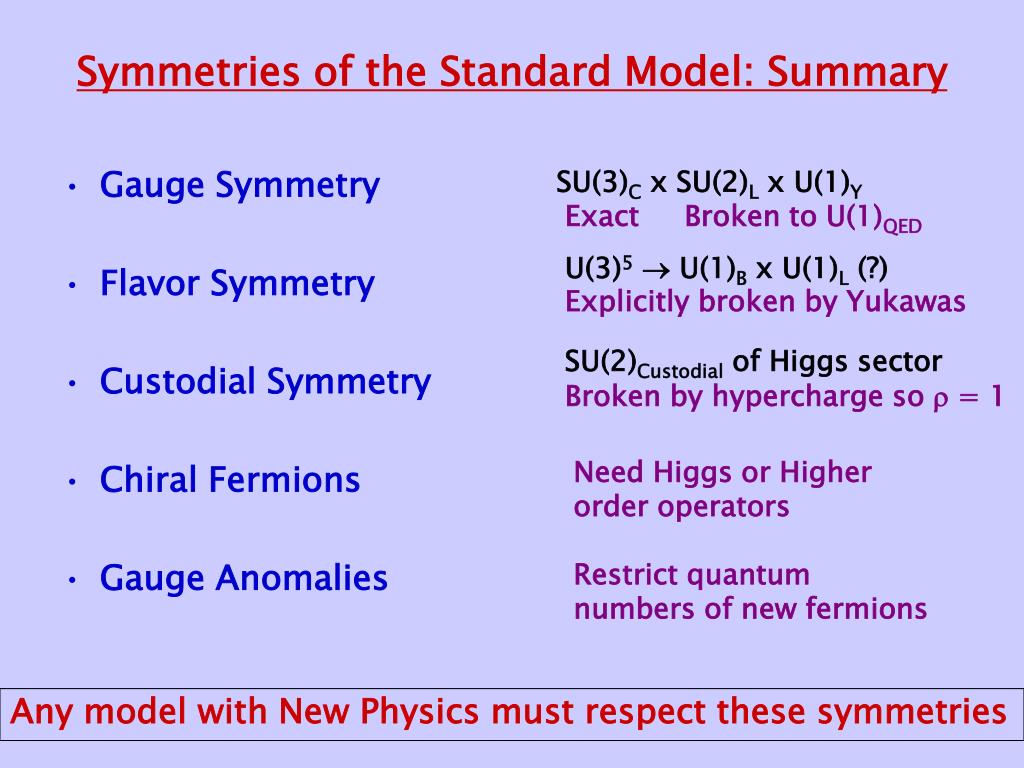 Symmetries of the Standard Model: Summary