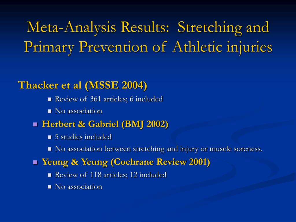 Meta-Analysis Results:  Stretching and Primary Prevention of Athletic injuries