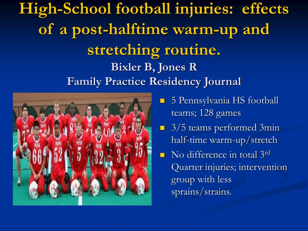 High-School football injuries:  effects of a post-halftime warm-up and stretching routine.