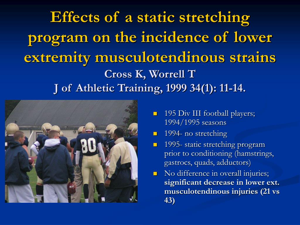 Effects of a static stretching program on the incidence of lower extremity musculotendinous strains