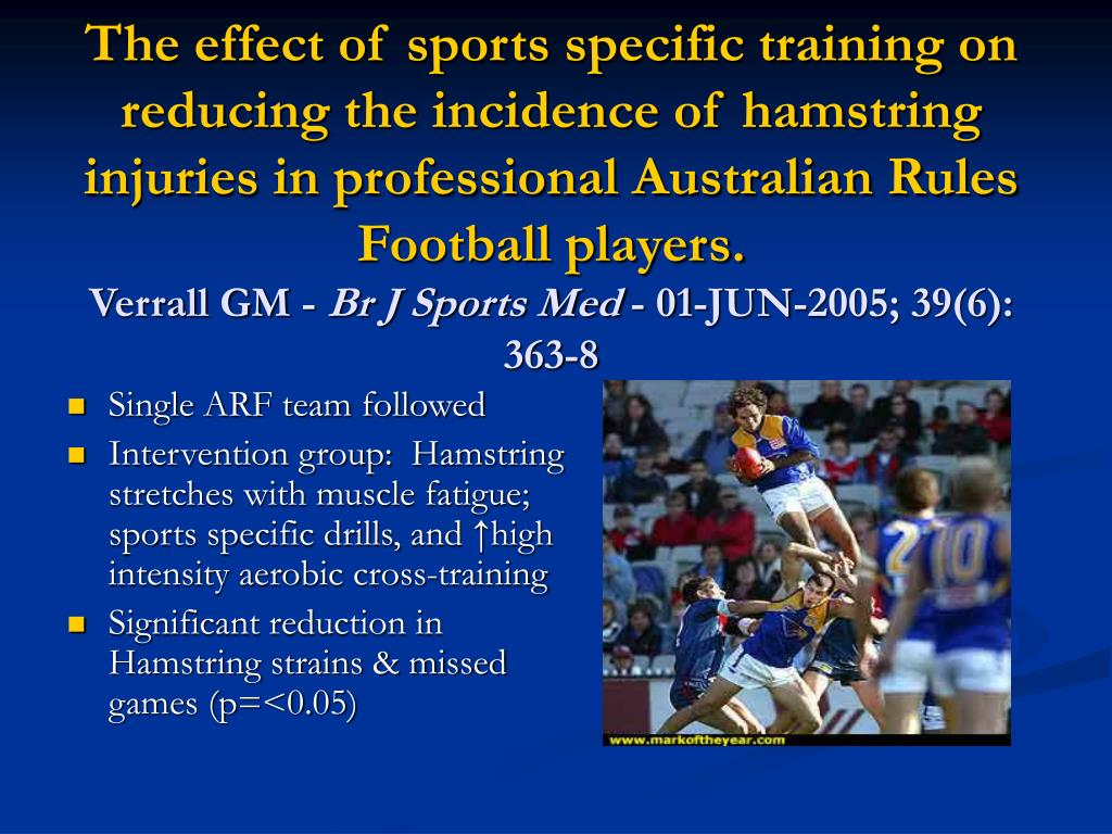 The effect of sports specific training on reducing the incidence of hamstring injuries in professional Australian Rules Football players.