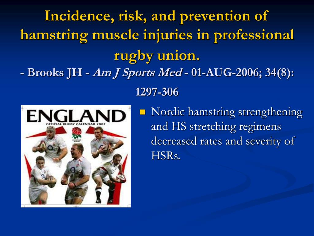 Incidence, risk, and prevention of hamstring muscle injuries in professional rugby union.