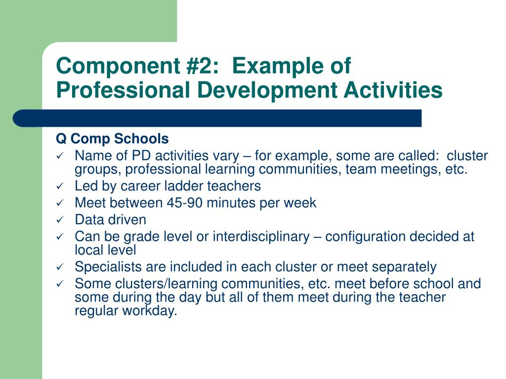 Component #2:  Example of Professional Development Activities