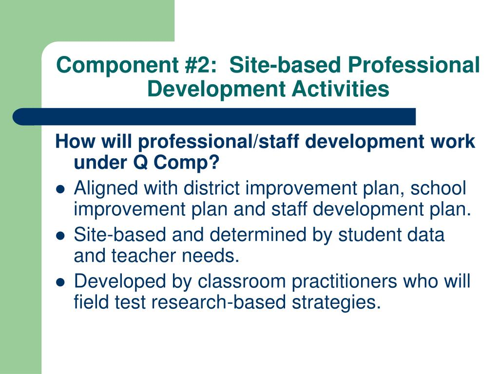 Component #2:  Site-based Professional Development Activities