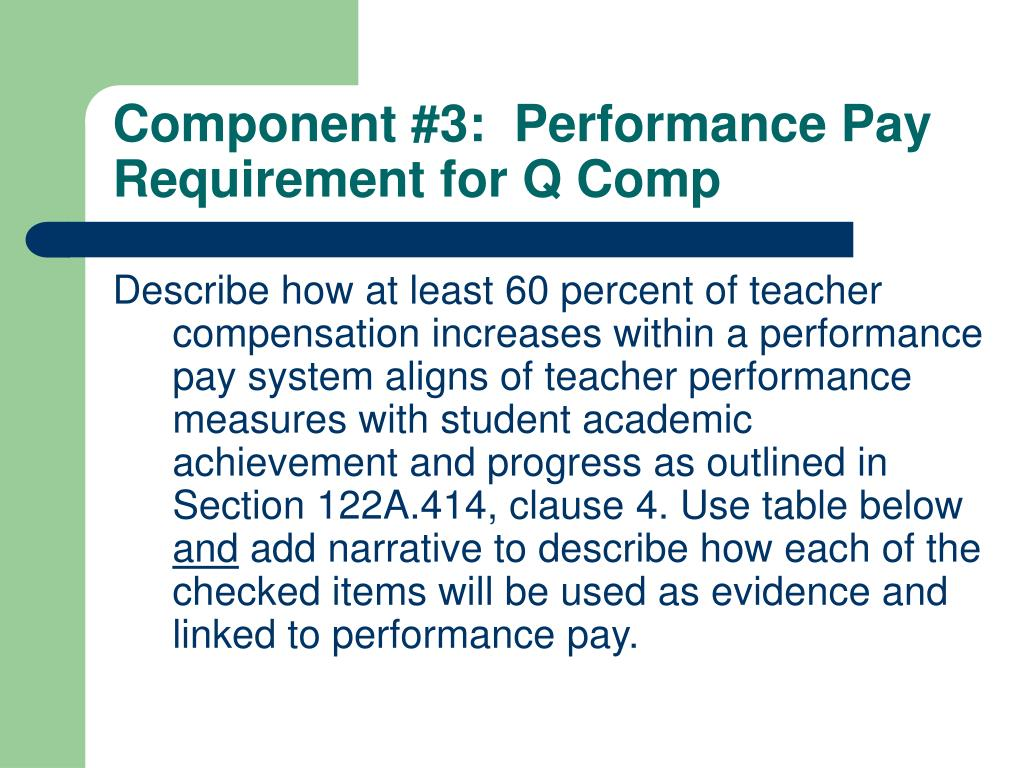 Component #3:  Performance Pay Requirement for Q Comp