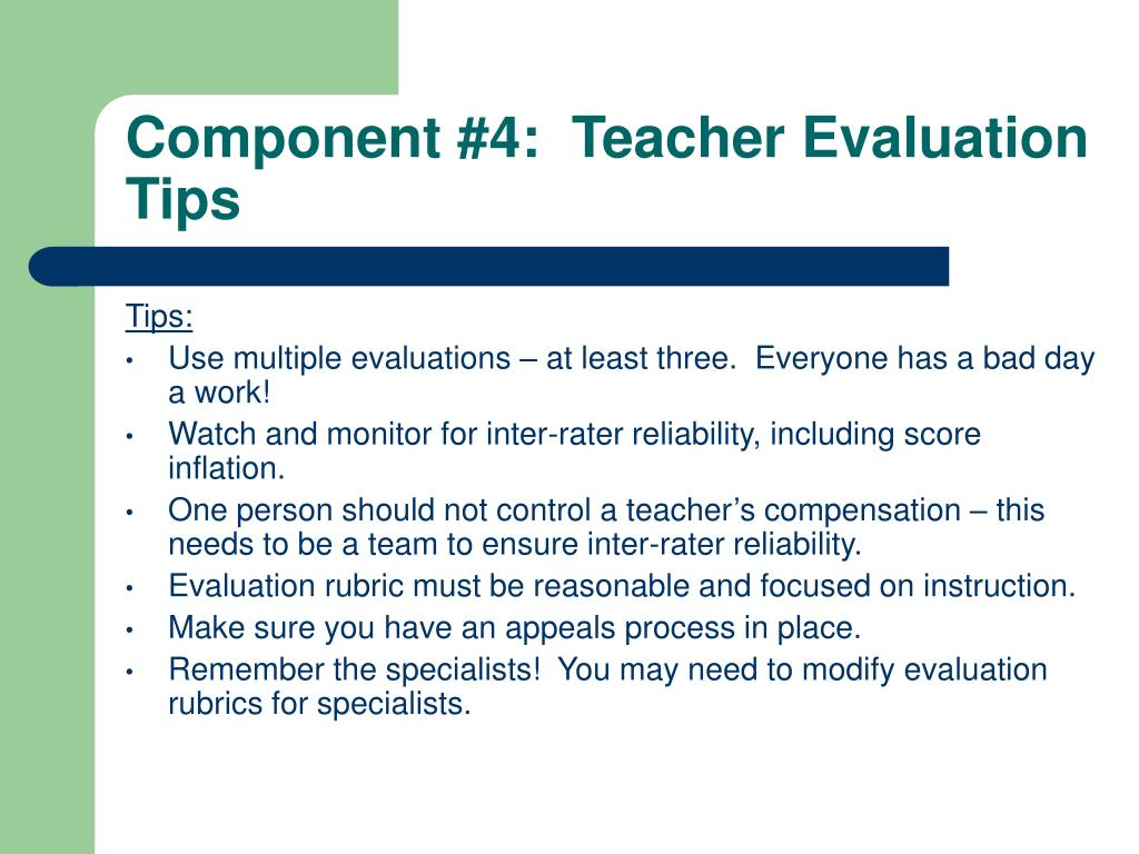 Component #4:  Teacher Evaluation Tips
